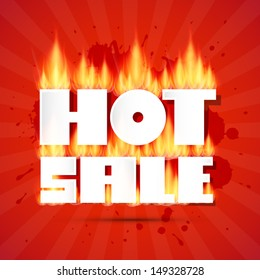 Vector Hot Sale Title In Flames on Red Background