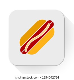 vector hotdog. Flat illustration of sausage. hot dog isolated on white background. american food sign symbol. fast food icon