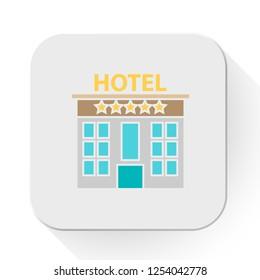 vector hotel. Flat illustration of hotel building. hotel isolated on white background. travel sign symbol. holiday hotel icon