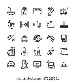 Vector Hotel Services Flat Outline Icons Set