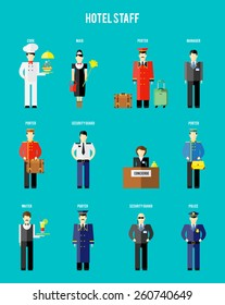 Vector hotel staff. Securityguard and police, receptionist and concierge, porter and waiter