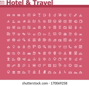 Vector hotel and travel icon set