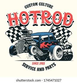 vector of hotrod car with big engine
