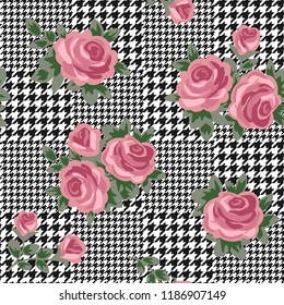 vector houndstooth seamless black and white pattern with pink retro roses