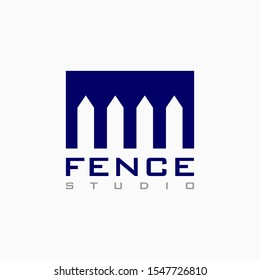 Vector house fence logo template in blue color, abstract business icon