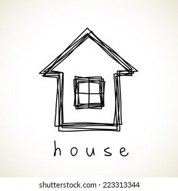Vector house icon. Doodle hand drawn sign of real estate. Childish illustration for print, web
