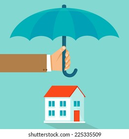 Vector house insurance concept in flat style - infographic design elements and icons - agent's hand holding umbrella over house