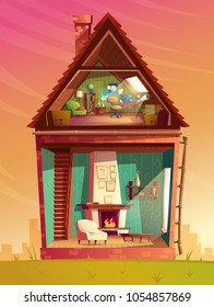 Vector house interior cross section, cartoon children playroom at attic with furniture and living room with fireplace. Residential cozy room. Front view of private building. Architecture background