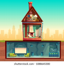 Vector house interior in cross section, cartoon living room. Attic with observatory. Basement with home cinema, bar counter, disco club. Front view of residential building. Architecture background
