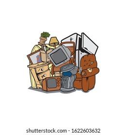 Vector of House junk cartoon design eps format, suitable for your design needs, logo, illustration, animation, etc.