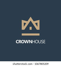 Vector house logo design template. Crown House. Real Estate, Building, Construction and Architecture.