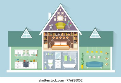 Vector house in miniature. Side view. The layout of the apartment house. Different rooms with furniture. Interior Design.