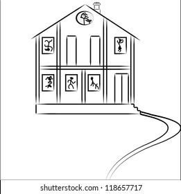 vector house with people and cat on white background
