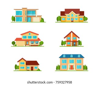 Vector House. Set of Modern Flat townhouse, cottage home, front view with terrace, roof, isolated on white. Real Estate element collection.