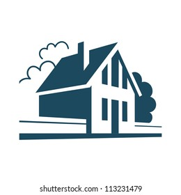 Vector house. Simple stylized icon of cottage in the village. Perspective view of street with private building, trees and fence. Abstract sign of suburban real estate. Black and white illustration