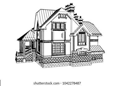 vector house sketch