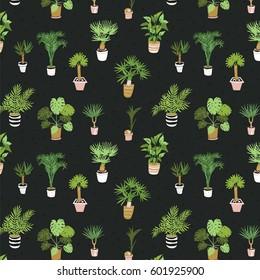 Vector House Tropical Palm Plant Pot Pattern.