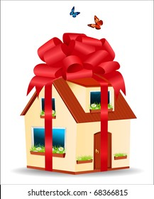 vector house with yellow walls, red roof and daisies on the window sill in a gift box with ribbons and bow