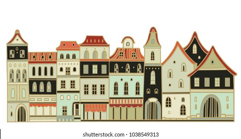 Vector houses on white background, old european style
