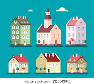 Vector Houses Set. Buildings Illustration. House and Building Symbols.