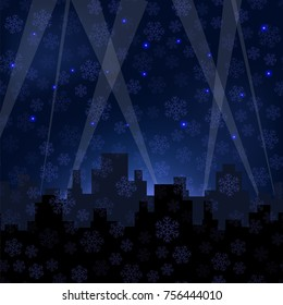 Vector Houses Silhouettes on Winter Night Starry Sky. Snowflakes Background