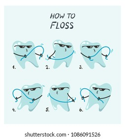 Vector how to illustration of flossing teeth in viral floss dance movement direction tutorial.