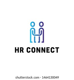Vector HR Connect logo design template. Human resources label with people icons. Line team work illustration. Together concept background. Creative letter H symbol with handshake idea