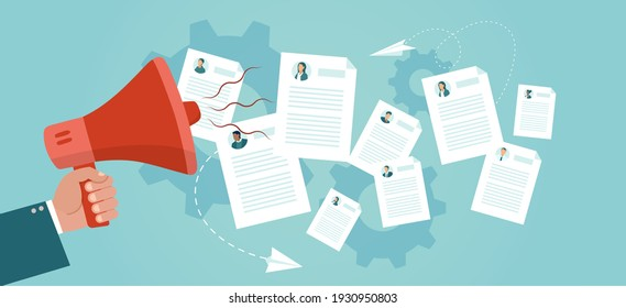 Vector of a hr manger with megaphone making an announcement to a job applicants