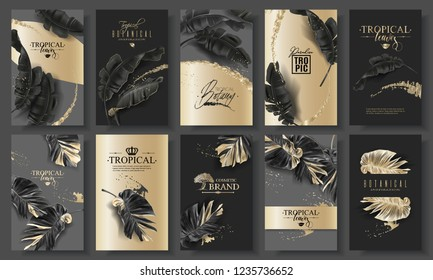 Vector huge banner set with tropical black leaves and gold splashes on dark background. Luxury exotic botanical design for cosmetics, spa, perfume, aroma, beauty salon. Best as wedding invitation card