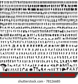 Vector huge set of 700 very detailed people silhouettes