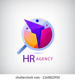 Vector human, faceted people logo. Hr search, recruitment logo. Origami people, 3 person inside the magnifier, jo search, human sourses