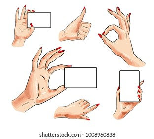 Vector human hand icon set. Female hand with card and thumb up, pointing finger, okay hand signs isolated on white background.