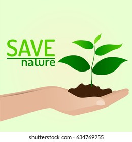 Vector Human hands holding growing tree plant