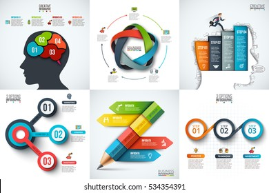Vector human head, pencil, businessman and other elements for infographic. Template for diagram, graph, presentation and chart. Business concept with 3, 4 and 5 options, parts, steps or processes.