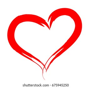 Vector human heart outlined by brush with hand draw for wedding, Valentine's day, romantic love design