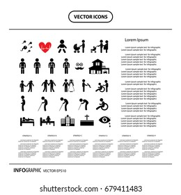 vector human life, info graphic icons