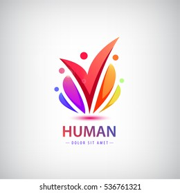Vector human logo, group of people colorful icon, teamwork, business, family of 5