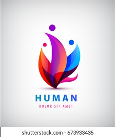Vector human logo, group of people colorful icon, teamwork, business, family of 3