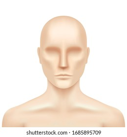 Vector human model isolated o a white background. Plastic dummy torso, realistic illustration. Mannequin mockup.