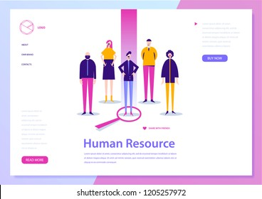 Vector human resouce, hr conсept, landing page. Job search, people illustration. Recruitment banner, poster.