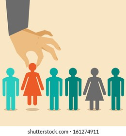 Vector  human resources concept  - hand holding woman icon - in flat style