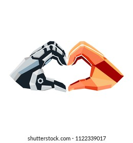 Vector Human Robot Hands Touch Heart Love Logo Icon Brand Symbol Shape Sign Professional Business Company