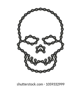 Vector Human Skull Made of Bike or Bicycle Chain. Vector Cranium or Death's Head Symbol. Hi-Detailed Bike Chain. Realistic Illustration for Graphic Design, Web Banner, Social Media, UI, Mobile App.