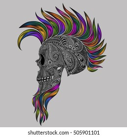Vector human skull made of flowers with a colored Mohawk and a beard