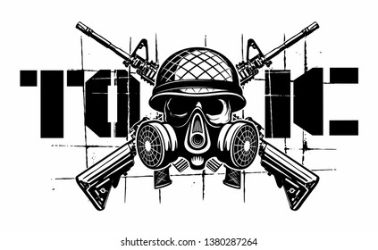 Vector human skull with the military helmet, gas mask and two crossed assault rifles, vector military logo isolated on white background.