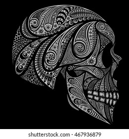 Vector human skull on a black background