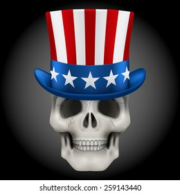 Vector Human skull with Uncle Sam hat on head. Illustration isolated on background