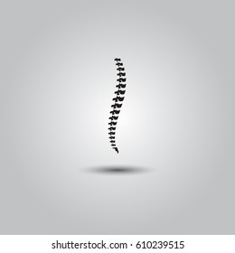 Vector human spine isolated silhouette illustration. Spine pain medical center, clinic, institute, rehabilitation, diagnostic, surgery logo element.