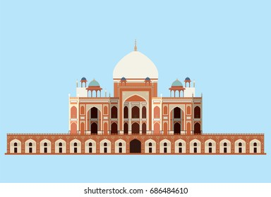 vector of Humayun's tomb on blue background