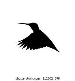 vector hummingbird, flying colibri silhouette